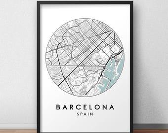 Barcelona City Print, Street Map Art, Barcelona Map Poster, Barcelona Map Print, City Map Wall Art, Barcelona Map, Travel Poster, Spain