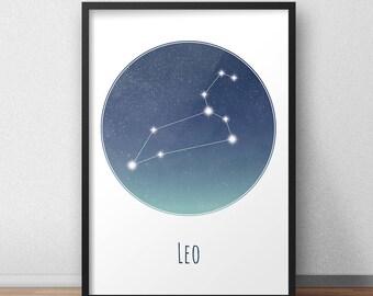 Leo Constellation Art Print, Star Sign Print, Constellation Art, Zodiac Poster, Zodiac Print, Astrology