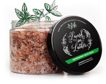 Mineral Bath Salts | Peppermint Bath Salt | Natural Bath Soak, Bath Salts, Skin Softening Bath Soak | 8oz or 16oz