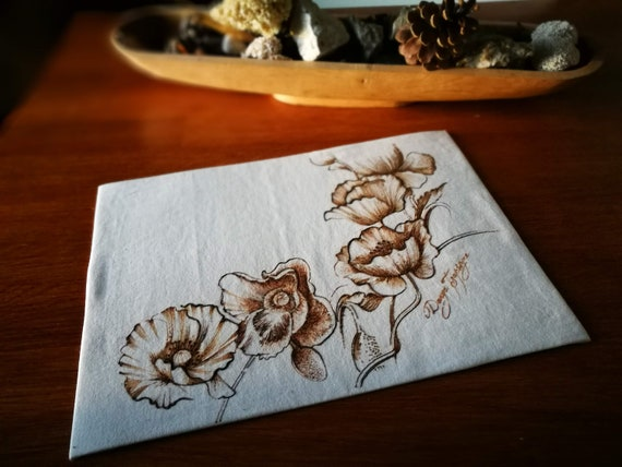 Henna Graving Poppey Flowers Drawing On Fabric Etsy