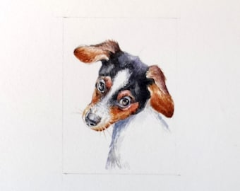 Pet handmade miniature portrait from photo, original tiny painting in watercolor from Italy, pet lover gift or dollhouse art