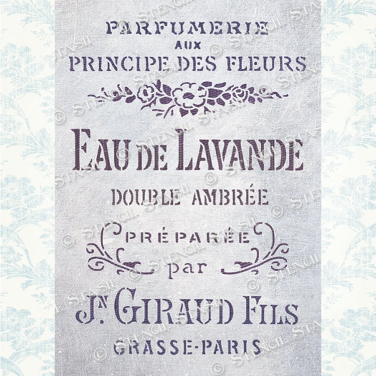French Lavender Vintage Script Label Stencil by Stencil Stash.