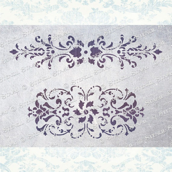 flourish designs furniture painting stencils Decorative damask border stencil