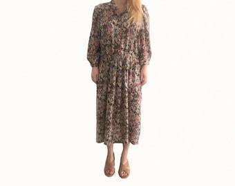 Retro Floral Dress size 14/ 70s Dress/ Retro Dress/ Vintage Dress/ Floral Print Dress/ 1970s Dress/ Stitches Dress