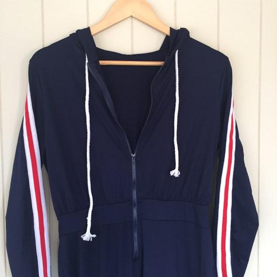 American Stripe Jumpsuit/ 1970s Jumpsuit/ Retro J… - image 4