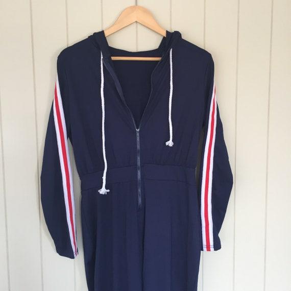 American Stripe Jumpsuit/ 1970s Jumpsuit/ Retro J… - image 2