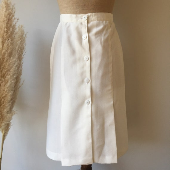 Vintage White Button Up Skirt - image 2