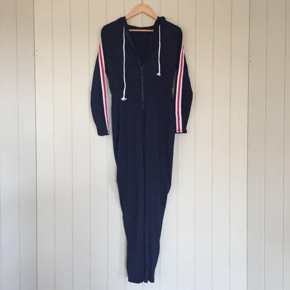 American Stripe Jumpsuit/ 1970s Jumpsuit/ Retro J… - image 1
