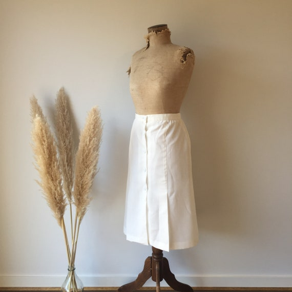 Vintage White Button Up Skirt - image 3