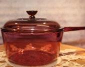 Vision Corning Ware 1.5 Liter Sauce Pan Pot Cranberry w Pyrex Lid USA B71-6-6 5
