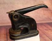 Antique Cast Iron Notary Press Stamp Seal 1920 39 s,7 quot B88