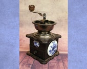 Vintage Coffee Mill Grinder Wood, Blue Floral Painted Floral Porcelain Cameos, Japan b 25