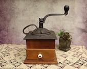 Antique Vintage Coffee Mill Grinder Cast Iron Metal Wood Box Handsome b 38