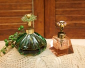 2 Vintage Glass Perfume Bottles, 1940 39 s, 1950 39 s, Pink, Green