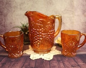 Antique Carnival Glass Water Pitcher, Grape Design, with 2 Matching Color Mugs b 38