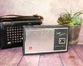 Vintage National Panasonic Transistor Radio with Leather Case, 1970 39 s, Works B59