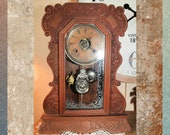 Vintage Wood Chiming KITCHEN Clock - GINGERBREAD Clock - Mantle Parlor Clock, 1900 39 s, 19.5 quot KR-7-18