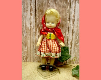 """Vintage Rubber Little Red Riding Hood Doll, 6 1/2"""""""