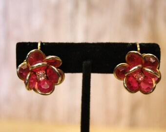 Vintage Raspberry Cluster Clip on Earrings