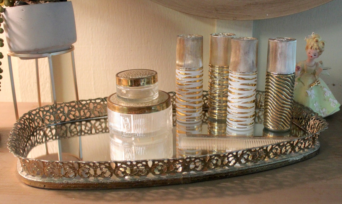 19 Piece Vintage Vanity Set, Ormolu Mirror, Brush Set, Covered Jars, 4 Matching Cologne Bottles, 16: Mirror     B94-8-1