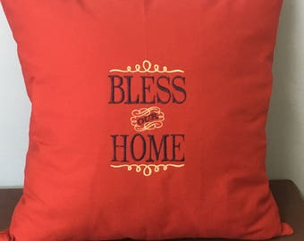 Bless Our Home Embroidered Pillow