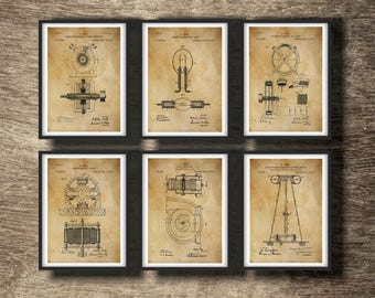 Electrical blueprint etsy tesla print set of 6 inventions tesla blueprint tesla art print nicola tesla instant download malvernweather Images