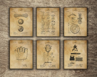 Vintage Baseball Decor, Sports Wall Decor, Vintage Baseball Glove, Baseball  Art, Baseball Set Of 6 Designs   INSTANT DOWNLOAD