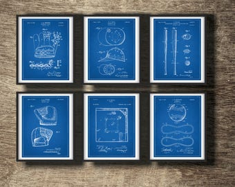 Blueprint decor etsy baseball blueprint set of 6 prints baseball blueprints posters baseball blueprints wall decor baseball set of 6 prints instant download malvernweather Choice Image