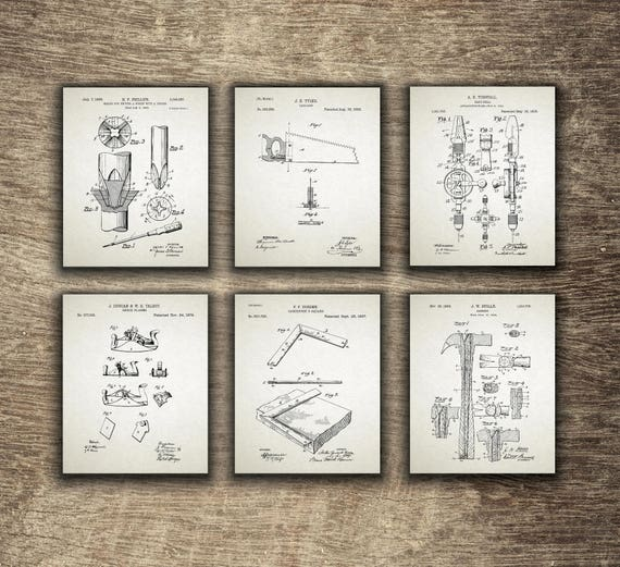 Woodworking Tools Patent Print Woodworking Gift Idea Carpentry Wall Art Carpentry Set Of 6 Prints Instant Download