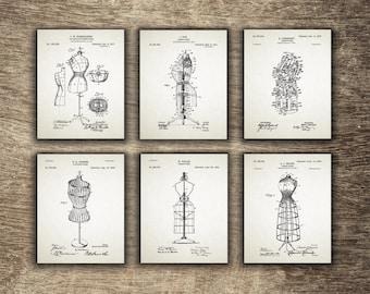 Adjustable Dress Form, Vintage Shop Decor, Fashion Wall Art, Printable Dress Form, Fashion Set of 6 Posters - INSTANT DOWNLOAD -