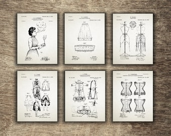 Vintage Bicycle Suit Poster, Corset Patent, Vintage Garment Decor, Skirt Wall Art Decor, Set of 6 Designs - INSTANT DOWNLOAD -
