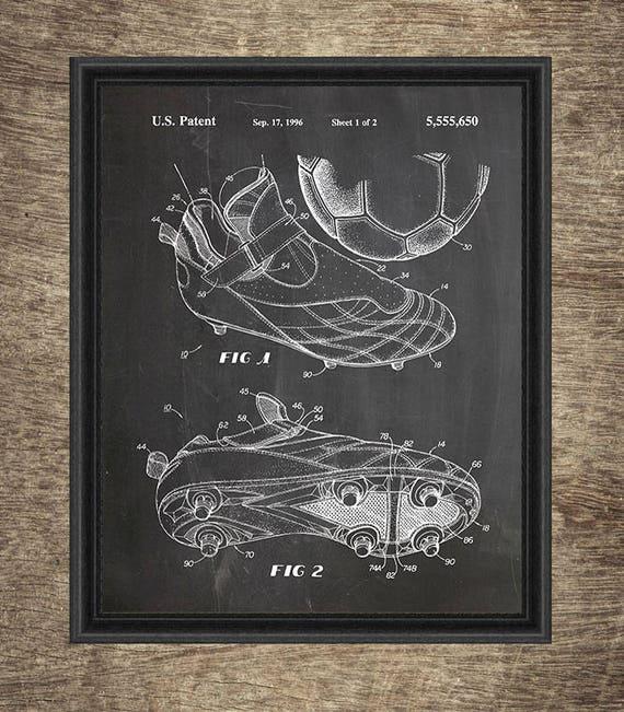 Soccer Patent Prints Set of 2 Soccer Decor Soccer Gift Soccer Art Print Wall Art