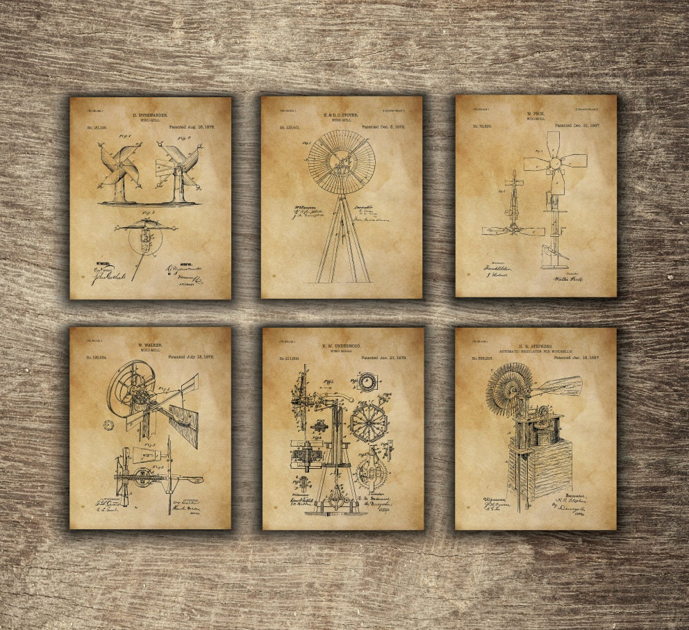 Old Fashioned Windmill Wall Decor For Sale Illustration - Art & Wall ...