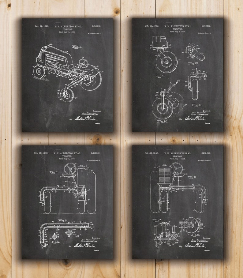 Printable Tractor Patent Printable Patent INSTANT DOWNLOAD - Set of 4 Designs Tractor Poster Printable Farming Decor