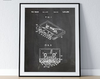 Tape Cassette Patent, Retro MixTape Poster, Music Lover Digital Art, Audiophile Poster, Audiophile Decor - DIGITAL DOWNLOAD -
