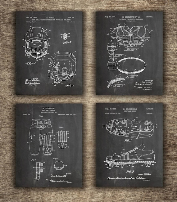 Football Set of 4 Prints INSTANT DOWNLOAD Football Patent American Football Print Football Printable Football Gift Idea Football Poster