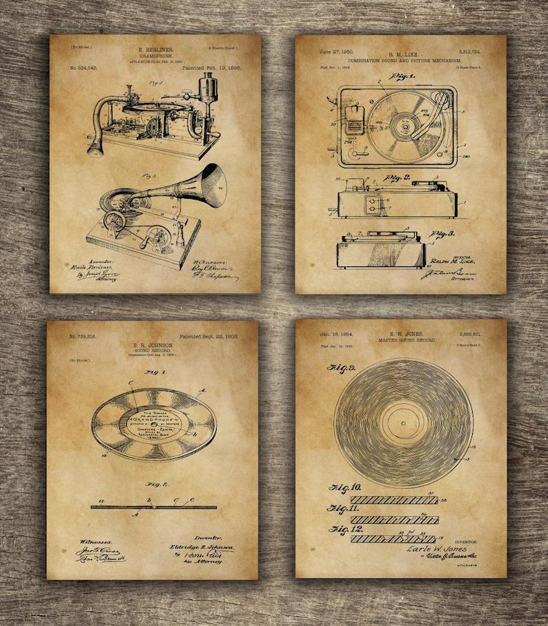 Music Recording Gift Idea, Dj Print, DJ Vinyl Records, Sound Recording  Patent Set of 4 Designs, INSTANT DOWNLOAD