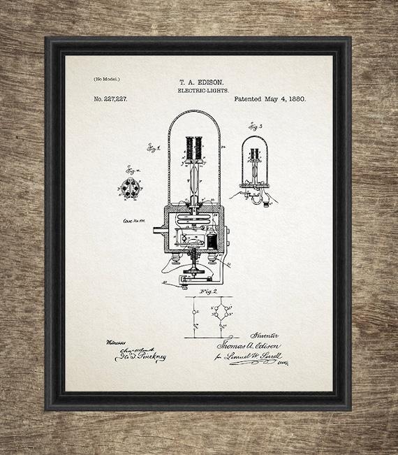 Edison Gloeilamp Uitvinding Set Van 6 Afdrukken Gloeilamp Octrooi Gloeilamp Poster Thomas Edison Light Set Van 6 Prints Instant Download