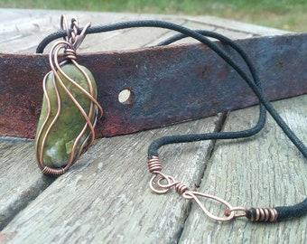 Fil enroulé pendentif, bijoux agate mousse, collier en cristal, bijoux de pierres précieuses, bijoux, bijoux en cuivre, pendentif fil cuivre tissé en fil