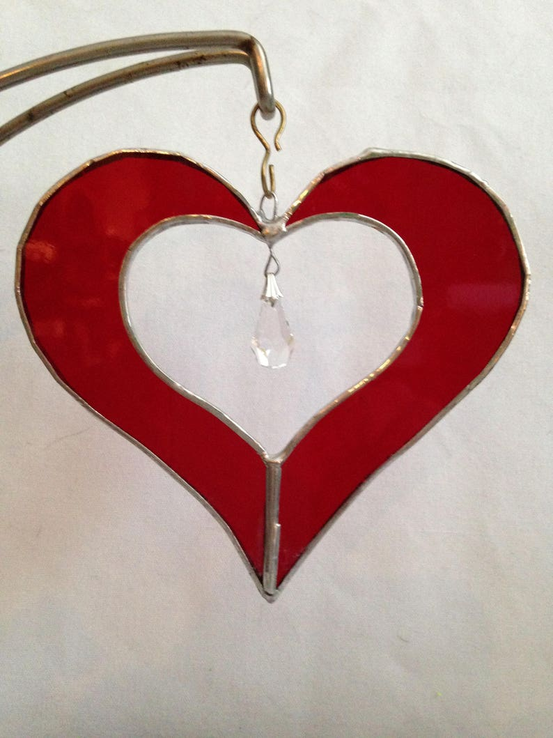 028d8c6de5b1 5 Stained Glass Red Heart Sun Catcher w  Crystal