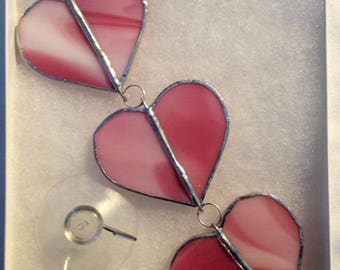 """6.5""""  Stained Glass Trio of Hanging Pink Hearts"""
