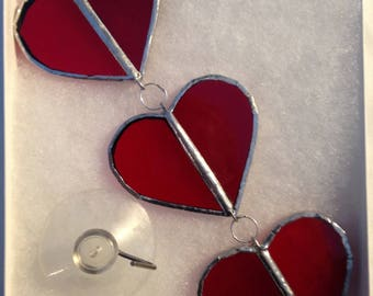 """6.5""""  Stained Glass Trio of HangIng red Hearts"""