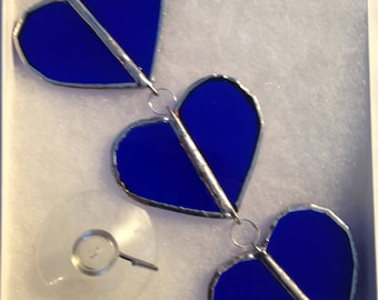 """6.5""""  Stained Glass Trio of HangIng Blue Hearts"""