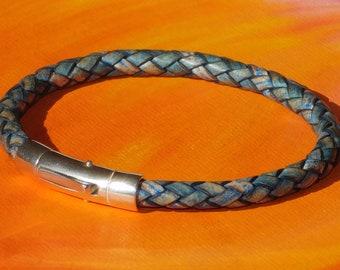 Lyme Bay Art ladies 5mm Antique Blue leather /& sterling silver bracelet Mens