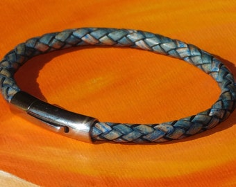 8mm Saddle Brown braided leather /& sterling silver bracelet by Lyme Bay Art.
