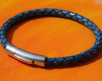 Mens //ladies 6mm Antique Beige leather /& stainless steel bracelet Lyme Bay Art
