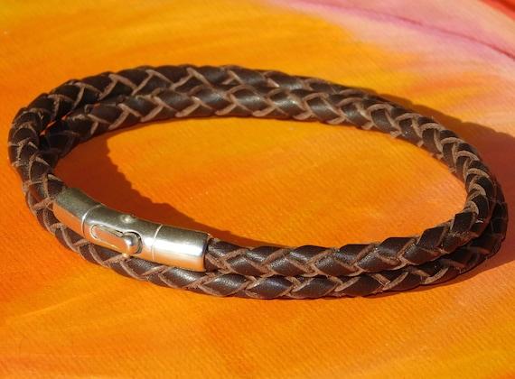 Mens //ladies 6mm Brown Nappa leather /& sterling silver bracelet by Lyme Bay Art.