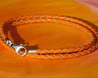 Mens / ladies 3mm Orange Braided leather & sterling silver wrap around bracelet by Lyme Bay Art.
