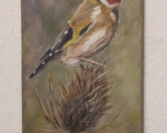 Original bird painting. Oil on canvas. Goldfinch by Neil Hampson