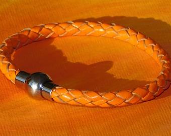 Mens / ladies 5mm Orange Braided leather & stainless steel bracelet by Lyme Bay Art.